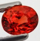 Songea Behandlad Topp Orange Safir 0,43 Ct Oval Slipning Topp Luster