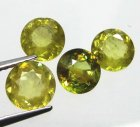 Good Price Parcel 4 pcs Yellowgreen Sphene (Titianite) 3,34 carat Round Cut Very Good Quality from Madagascar Purchase Now!
