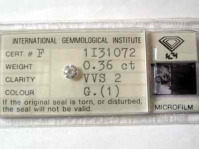 Certifierad Vit (G) Diamant 0,36 Ct Brilliant VVS2